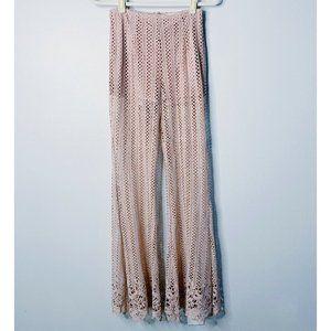 L'atiste Pink Crocheted Boho Flare Wide Leg Pants